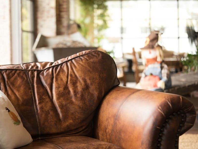 brown leather sofa in the interior