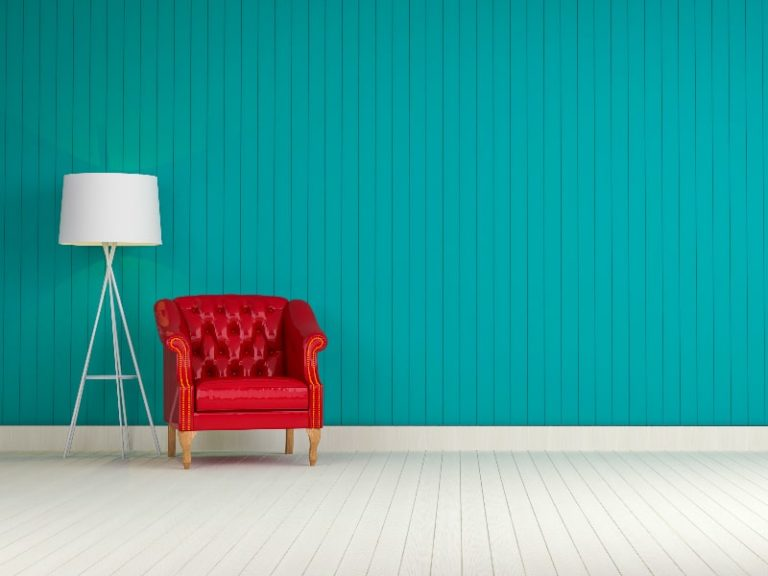 blue-wall-with-red-sofa