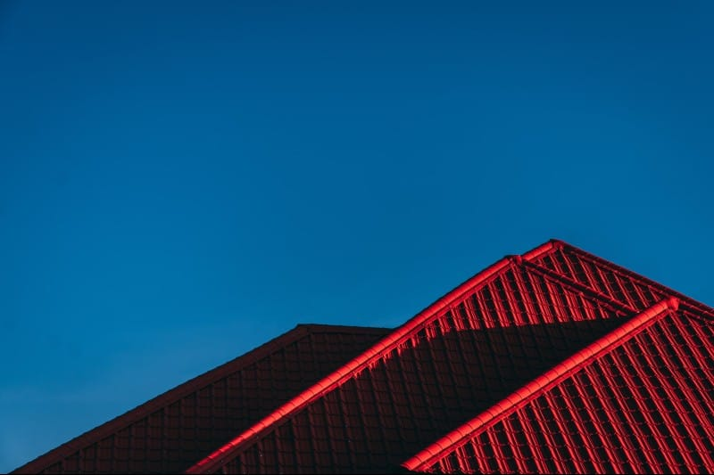 red rooftops and blue sky