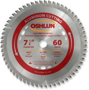Oshlun SBNF-072560 7-1/4-Inch 60 Tooth TCG Saw Blade with 5/8-Inch Arbor for Aluminum and Non Ferrous Metals