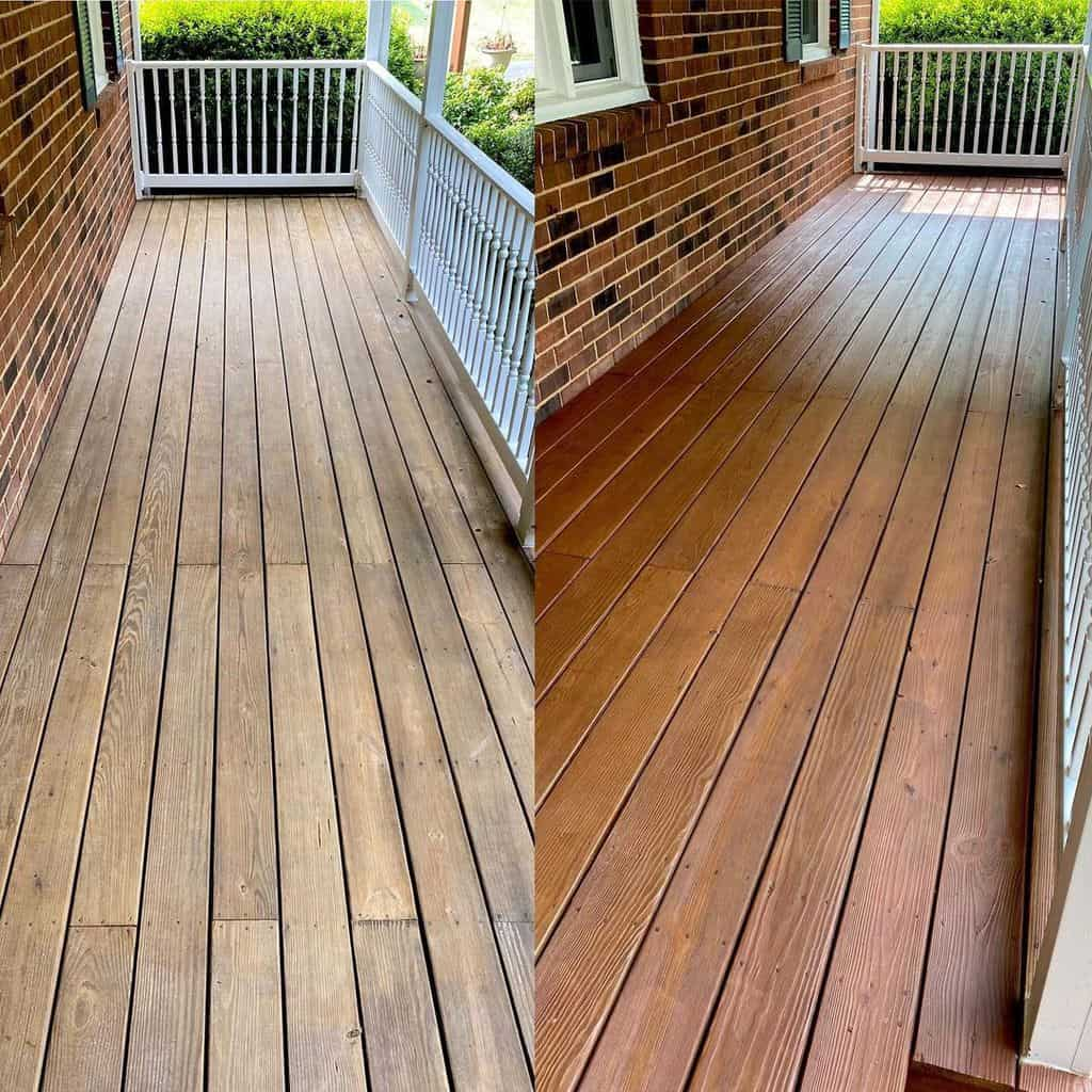 Porch before and after painting Thompson Waterseal
